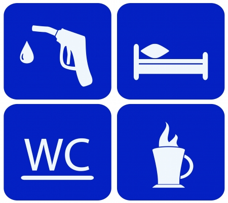 kip: blue set sign with gas station, bed, wc and hot cup