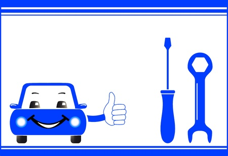 visiting card background for auto service station with cartoon car, screwdriver and spanner Vector