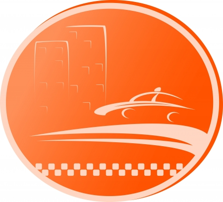 cab transport symbol with road, taxi car and house Vector