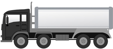 isolated black trash truck with black cabin Vector