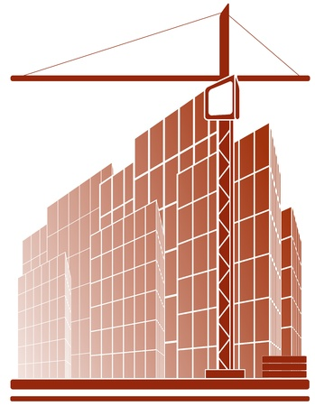 house under construction: red symbol with construction crane and skyscraper