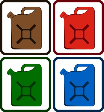 jerry: set colorful gasoline jerry can isolated