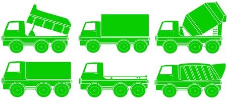 motor de carro: conjunto verde de la silueta de transporte de la construcción