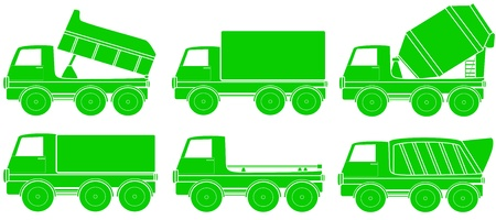 green set of construction transport silhouette Vector