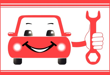 mecanico automotriz: fondo rojo de la estaci�n de servicio de auto con la mano coche silueta llave