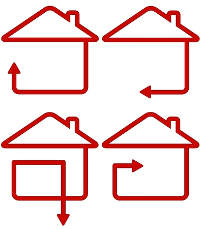renovate: red isolated sign with home and move arrow silhouette