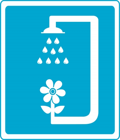 blue shower sign silhouette with flower and drop of water Vector