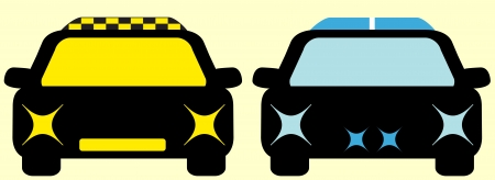 two black isolated cars - taxi and police Vector