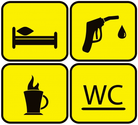kip: yellow symbol set with gas station, bed, wc and coffee cup Illustration