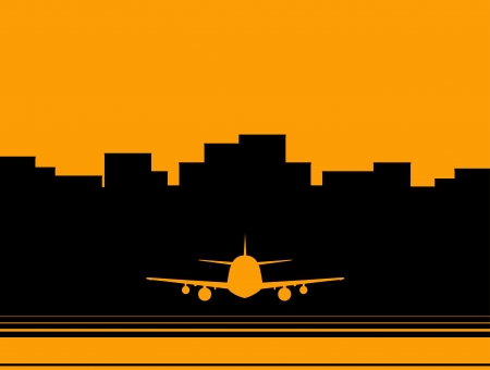 yellow airport background with skyscraper and plane silhouette Vector