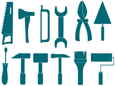 trowel: blue set with isolated tools for repair Illustration