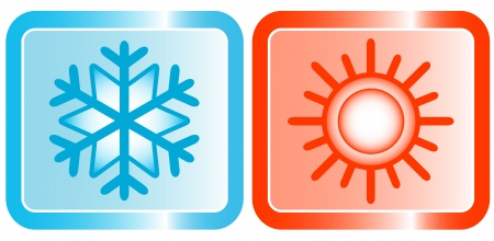 icons for conditioners topic - snowflake und sun 矢量图像