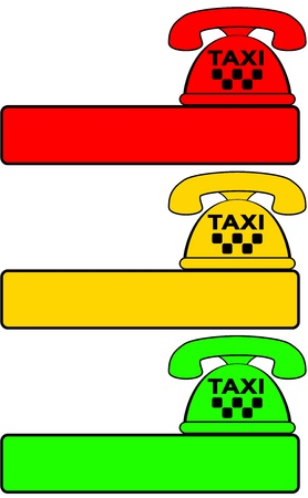 set of taxi phone for call cab - traffic light color Vector