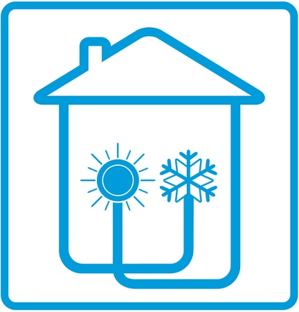 cold room: blue symbol conditioner in home with sun and snowflake in house silhouette