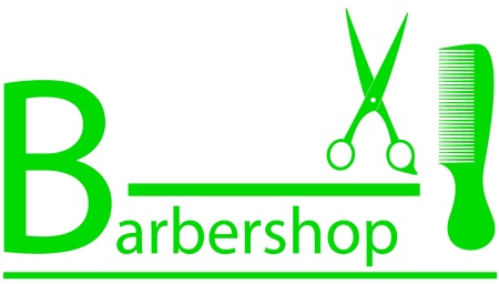 green barbershop symbol with scissors and comb silhouette Vector