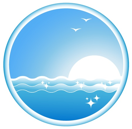 blue icon with sea wave, sun and seagull Vector
