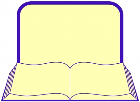 sketchpad: icon with open book with frame and place for text Illustration