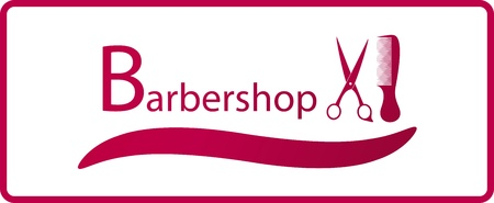 haircutter: red symbol of barbershop with comb and scissors silhouette Illustration
