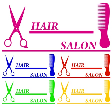 scissors and comb: set colorful hair salon symbols and place for text