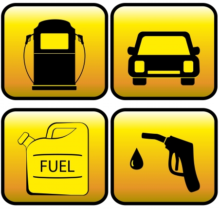 jerry: set glossy icons - jerry can, car and close up of gas station Illustration