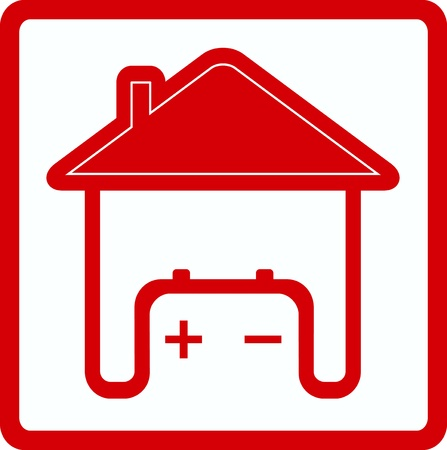 alternator: red sign house with battery in home - symbol spare electricity