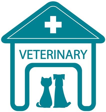 ホーム クリニック シルエットとペット - 猫と犬の獣医のシンボル  イラスト・ベクター素材