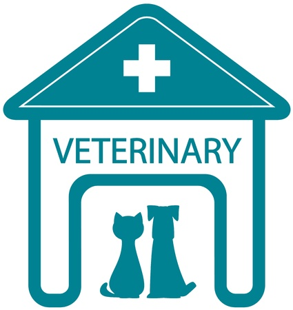 veterinary symbol with home clinic silhouette and pet - cat and dog Illustration