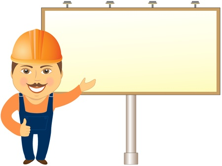 bill board: builder with billboard showing thumb up and smile