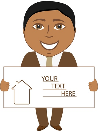 estate agent: real estate agent - smile afro man with blank for text