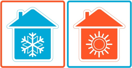 conditioning: air conditioning symbol - warm and cold in home Illustration