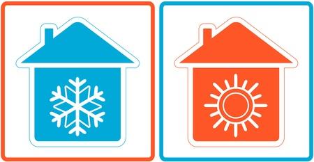 conditioning: S�mbolo de aire acondicionado - fr�o y caliente en el hogar