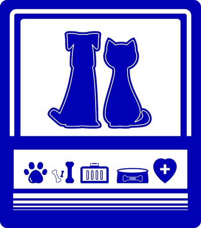 cat grooming: veterinary background with pet and set isolated zoological goods