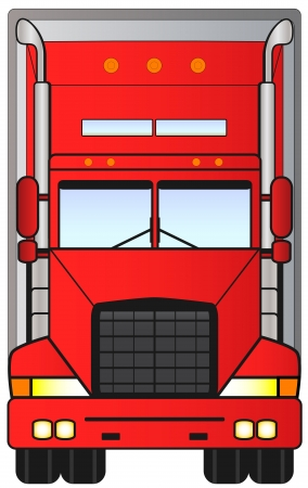 isolated heavy red american lorry truck Vector