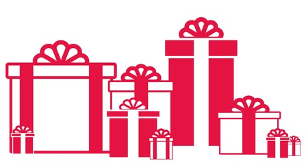 shopaholics: white background many red and white isolated gift box