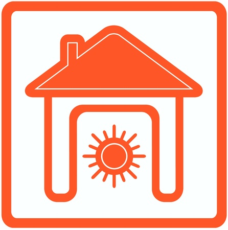 yellow sign with sun in home - heating in house symbol Stock Vector - 21205536