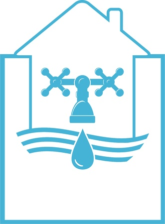 water symbol with tap and faucet in house Vector