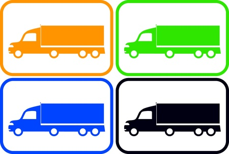 set colorful isolated heavy trucks silhouette Vector