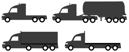 parked: set isolated lorry with tank and body truck silhouette Illustration