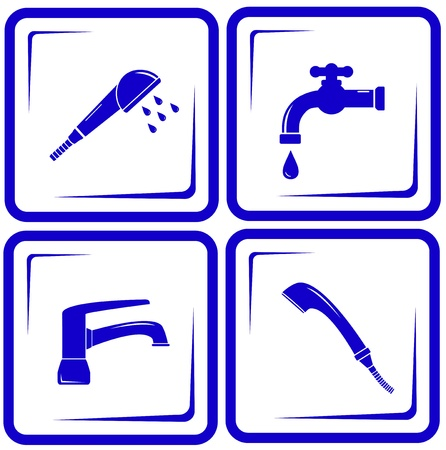 faucet water: blue set water supply objects - faucet mixer, tap, valve icon Illustration