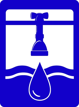 blue watering symbol with faucet, tap, water drop and conduit pipe Vector