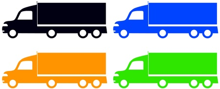 set colorful isolated trucks - american lorry silhouette Vector