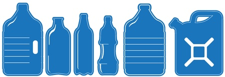 blue set with isolated plastic can and bottle silhouette Vector