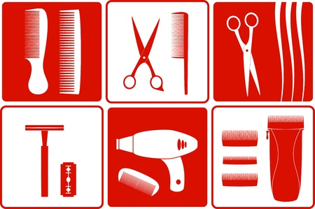 set barbershop tools silhouette on white and red backgrounds Vector