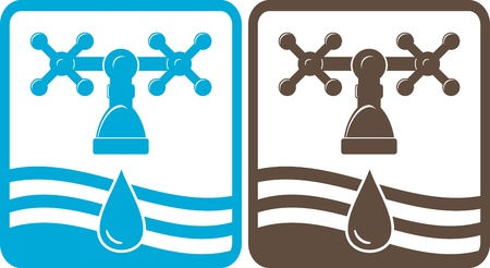 set black and blue faucet, drop and wave silhouette Stock Illustratie