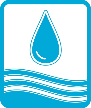 water sanitation: blue reservoir water symbol with drop and wave