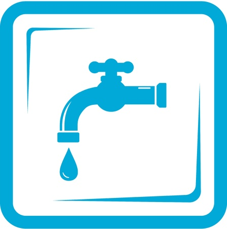 faucet water: blue faucet in frame - tap water and washbasin symbol