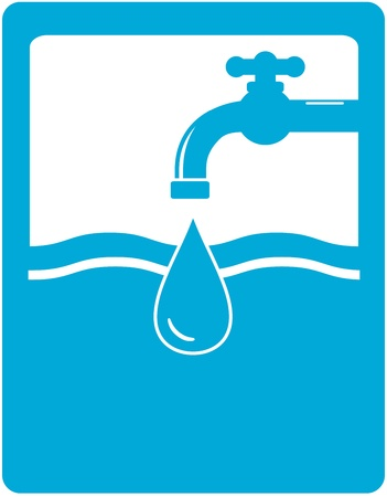 background for drinking water symbol with faucet, tap and water drop silhouette Vector