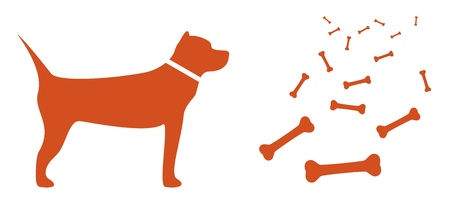 isolated dog and food for pet - many bone silhouette Vector