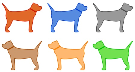 mutt: set isolated colorful pit bull terrier silhouette Illustration
