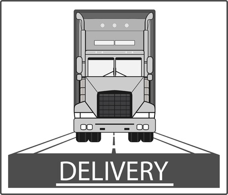 overnight delivery: big heavy truck on road - delivery symbol